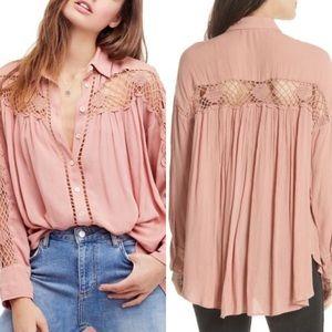 Free People Katie bird pink crochet inset blouse
